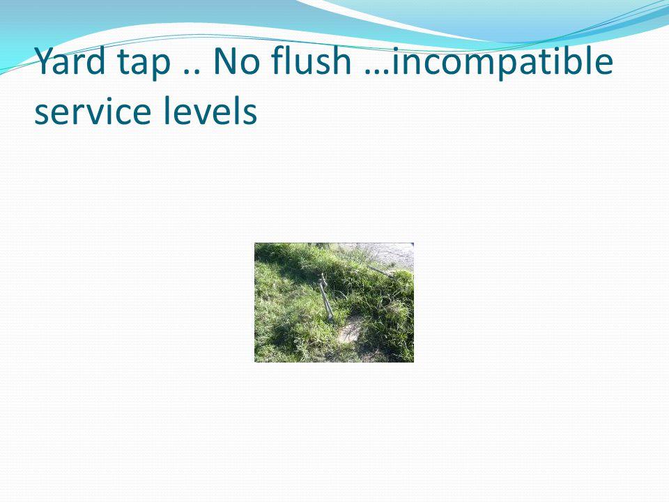Yard tap.. No flush …incompatible service levels