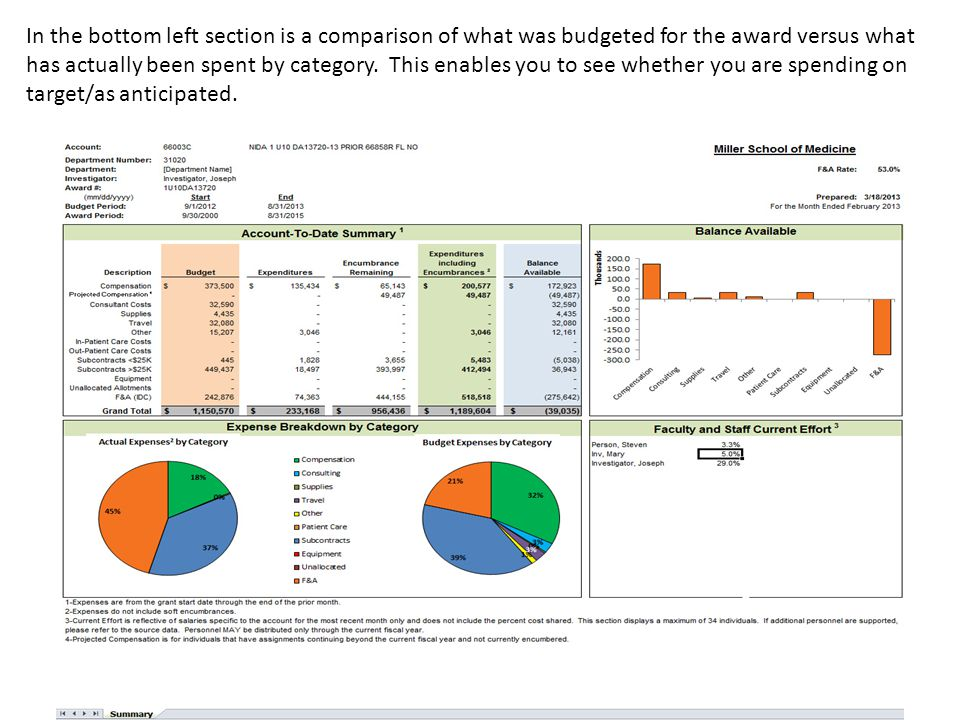 In the bottom left section is a comparison of what was budgeted for the award versus what has actually been spent by category.
