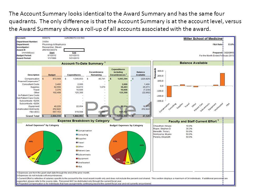 The Account Summary looks identical to the Award Summary and has the same four quadrants.