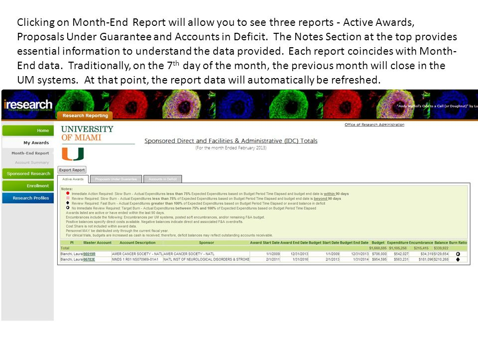 Active Awards is the first report showing active awards and awards which have closed within the previous 90 days.