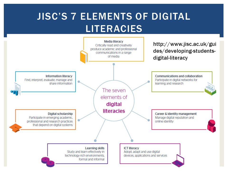 JISC'S 7 ELEMENTS OF DIGITAL LITERACIES http://www.jisc.ac.uk/gui des/developing-students- digital-literacy