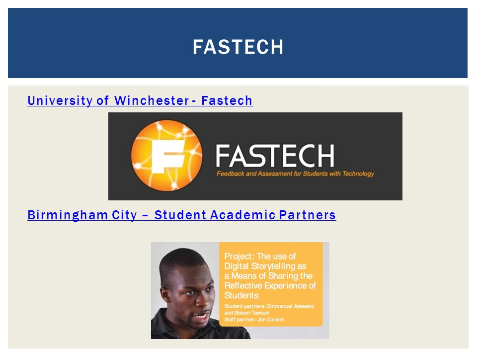 University of Winchester - Fastech Birmingham City – Student Academic Partners FASTECH