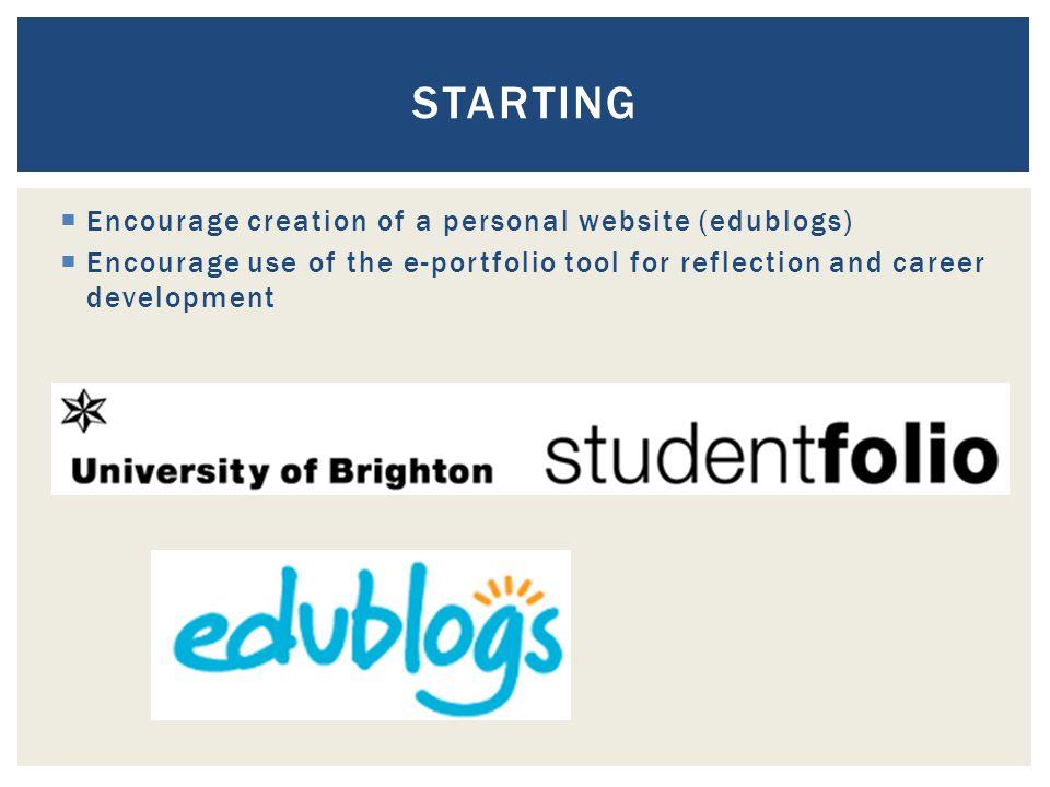  Encourage creation of a personal website (edublogs)  Encourage use of the e-portfolio tool for reflection and career development STARTING