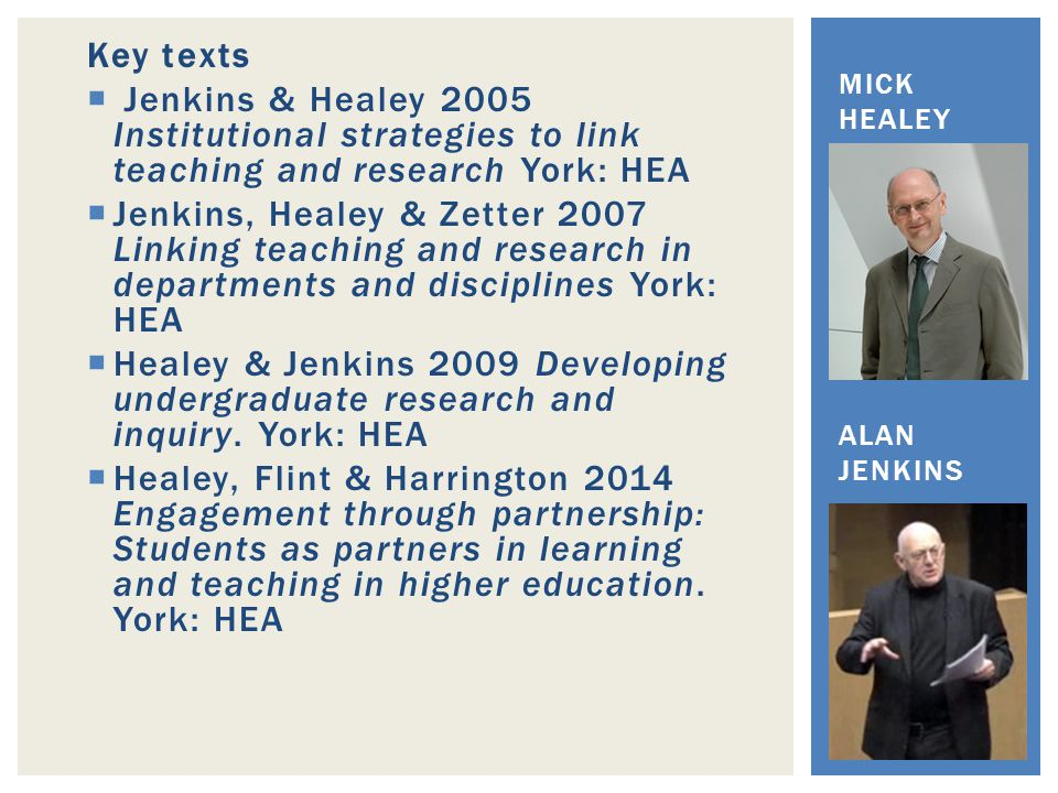 Key texts  Jenkins & Healey 2005 Institutional strategies to link teaching and research York: HEA  Jenkins, Healey & Zetter 2007 Linking teaching and research in departments and disciplines York: HEA  Healey & Jenkins 2009 Developing undergraduate research and inquiry.
