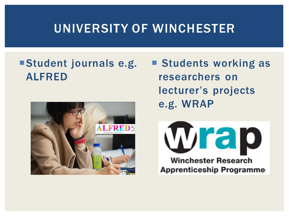  Student journals e.g. ALFRED  Students working as researchers on lecturer's projects e.g.