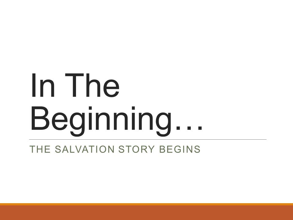In The Beginning… THE SALVATION STORY BEGINS