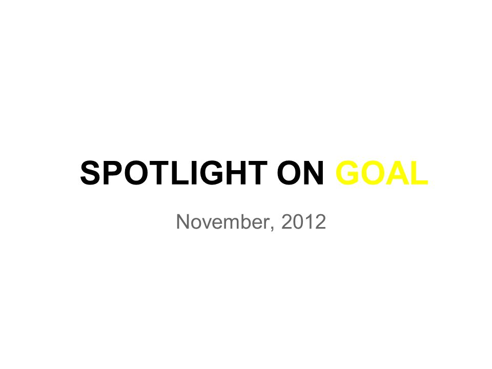 SPOTLIGHT ON GOAL November, 2012
