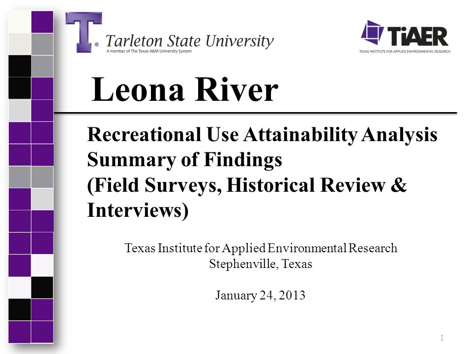 Leona River Recreational Use Attainability Analysis Summary of Findings (Field Surveys, Historical Review & Interviews) Texas Institute for Applied En