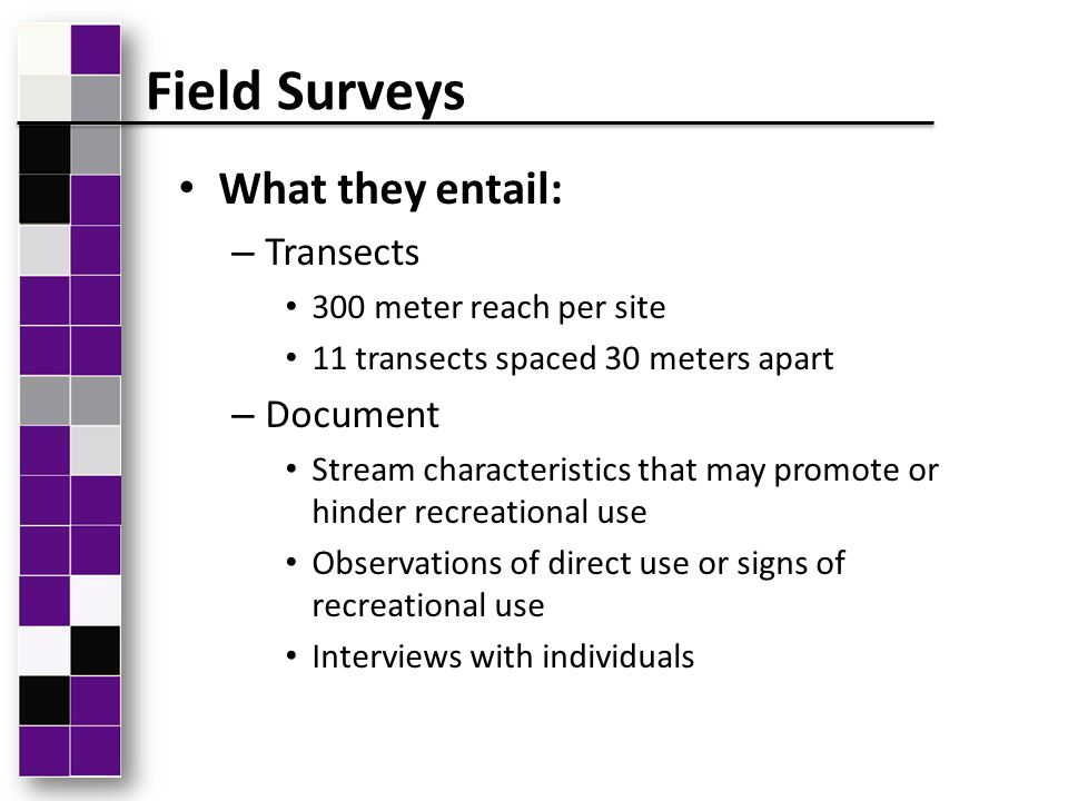 What they entail: – Transects 300 meter reach per site 11 transects spaced 30 meters apart – Document Stream characteristics that may promote or hinde