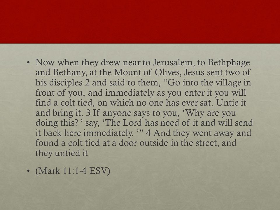 Now when they drew near to Jerusalem, to Bethphage and Bethany, at the Mount of Olives, Jesus sent two of his disciples 2 and said to them, Go into the village in front of you, and immediately as you enter it you will find a colt tied, on which no one has ever sat.