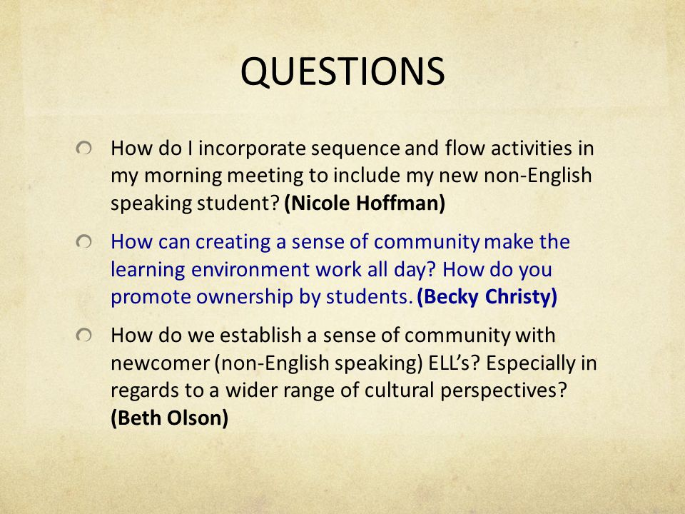QUESTIONS How could I create a booklet of activities that incorporate bilateral brain break movement using the community building model.