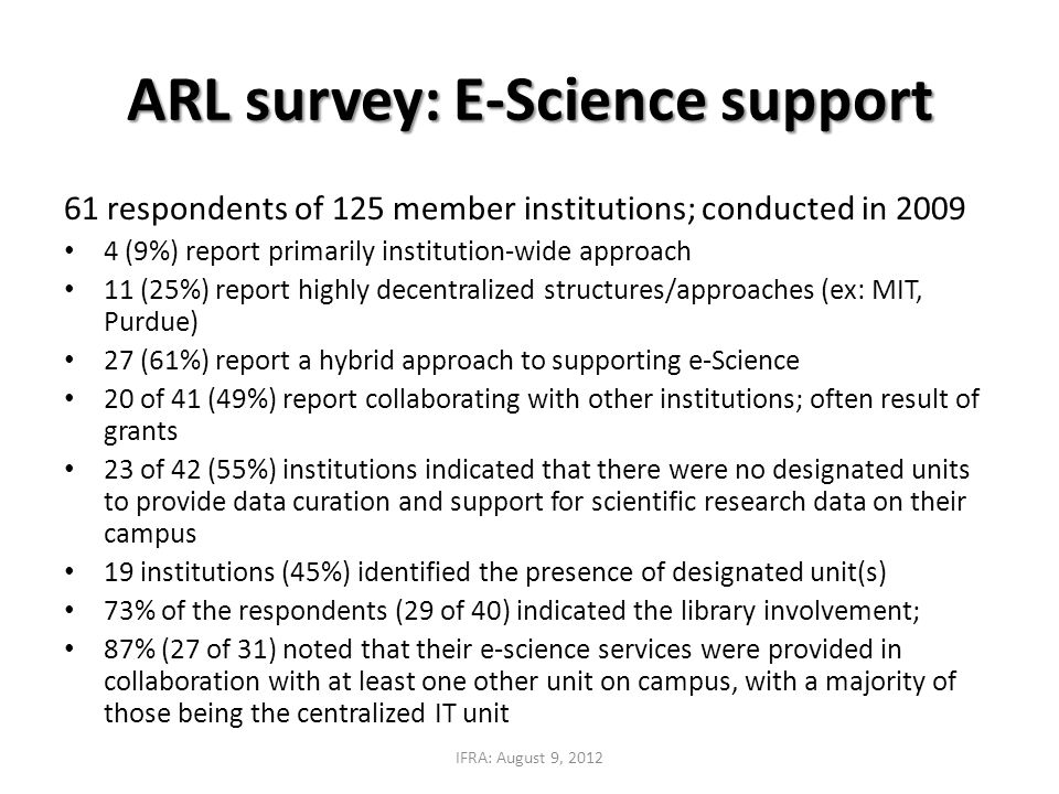 ARL survey: E-Science support 61 respondents of 125 member institutions; conducted in 2009 4 (9%) report primarily institution-wide approach 11 (25%)
