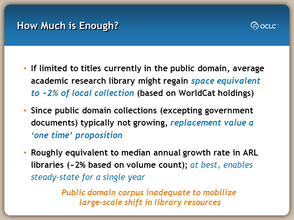 How Much is Enough? If limited to titles currently in the public domain, average academic research library might regain space equivalent to ~2% of loc