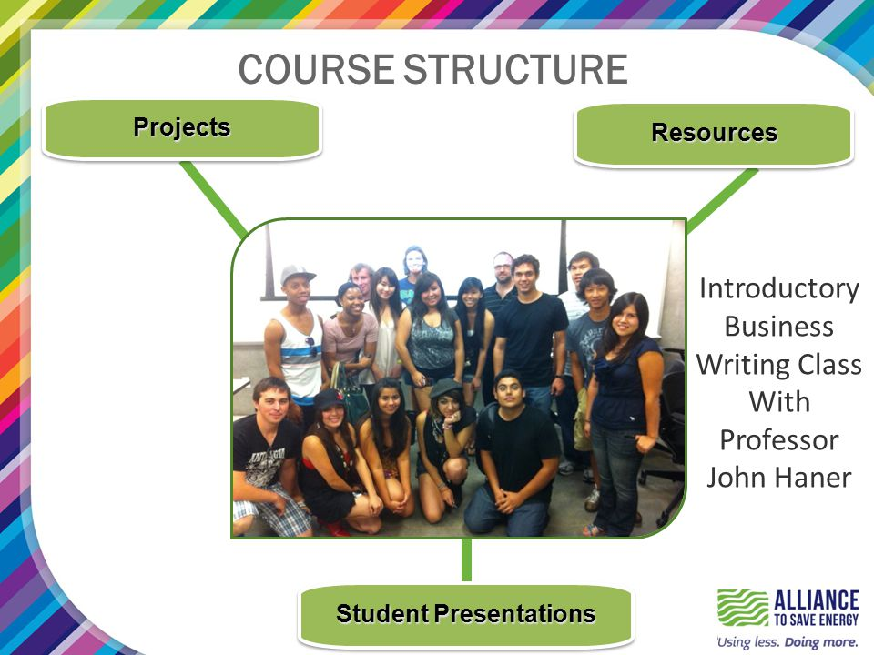 COURSE STRUCTURE Student Presentations ResourcesResources ProjectsProjects Introductory Business Writing Class With Professor John Haner