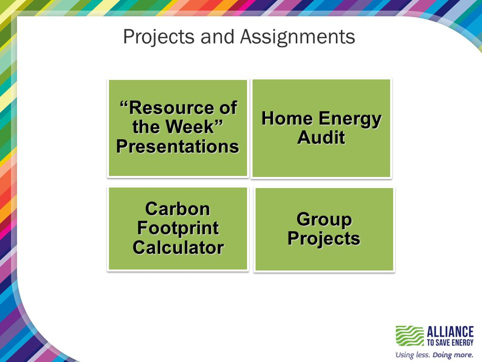 Projects and Assignments Resource of the Week Presentations Home Energy Audit Carbon Footprint Calculator Group Projects