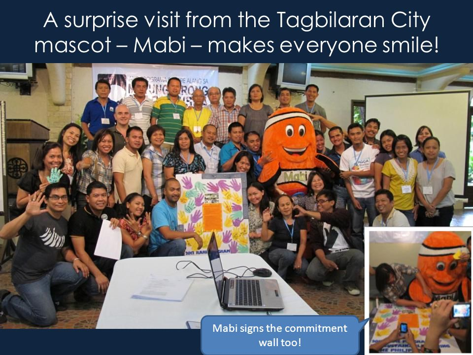 A surprise visit from the Tagbilaran City mascot – Mabi – makes everyone smile.