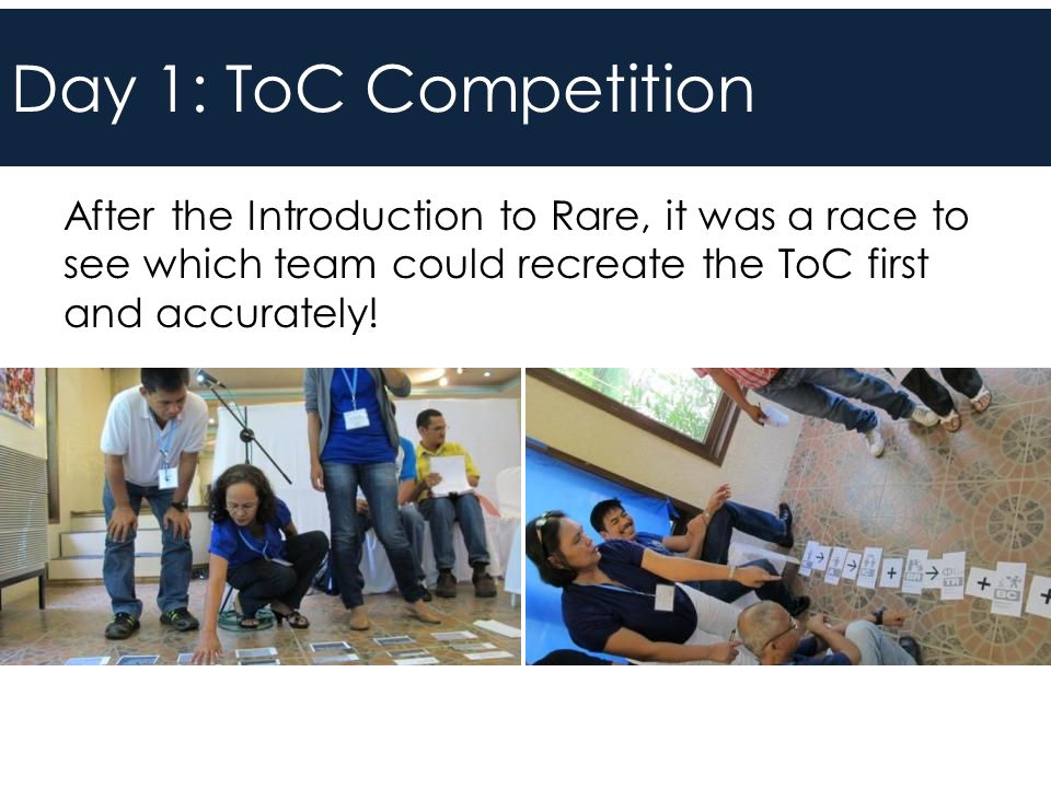 Day 1: ToC Competition After the Introduction to Rare, it was a race to see which team could recreate the ToC first and accurately!