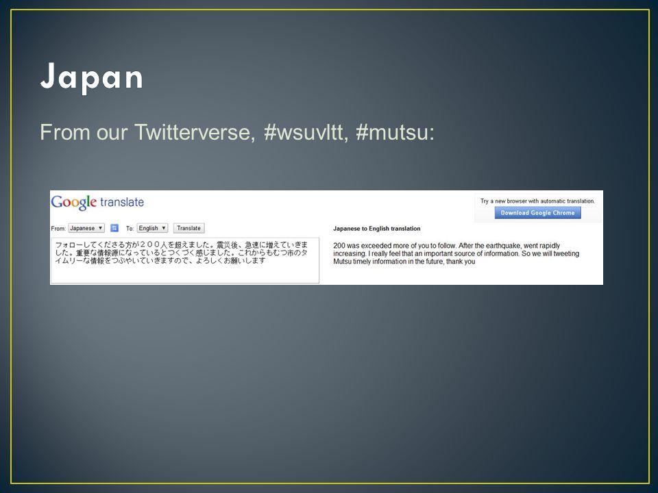 From our Twitterverse, #wsuvltt, #mutsu: