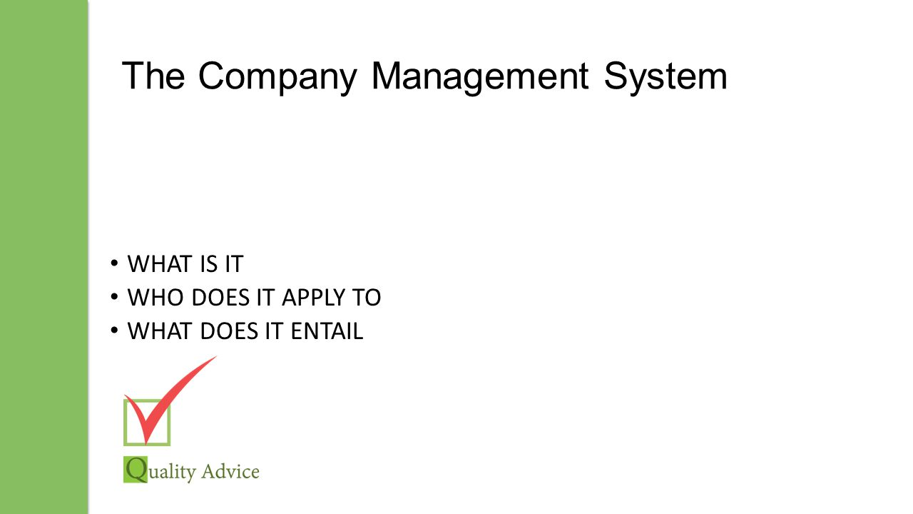 The Company Management System WHAT IS IT WHO DOES IT APPLY TO WHAT DOES IT ENTAIL