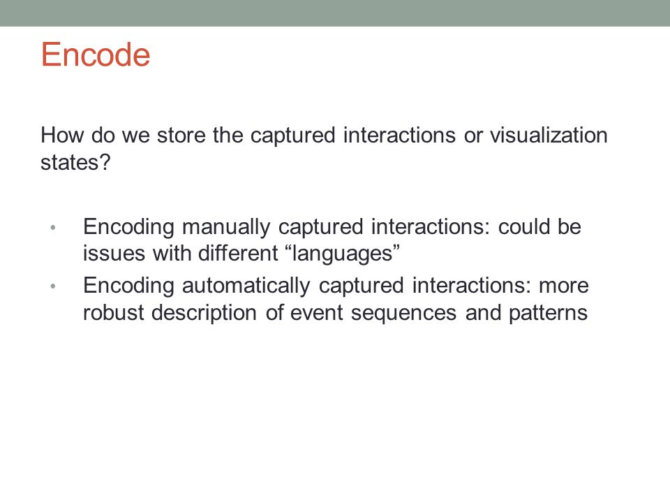 Encode How do we store the captured interactions or visualization states.