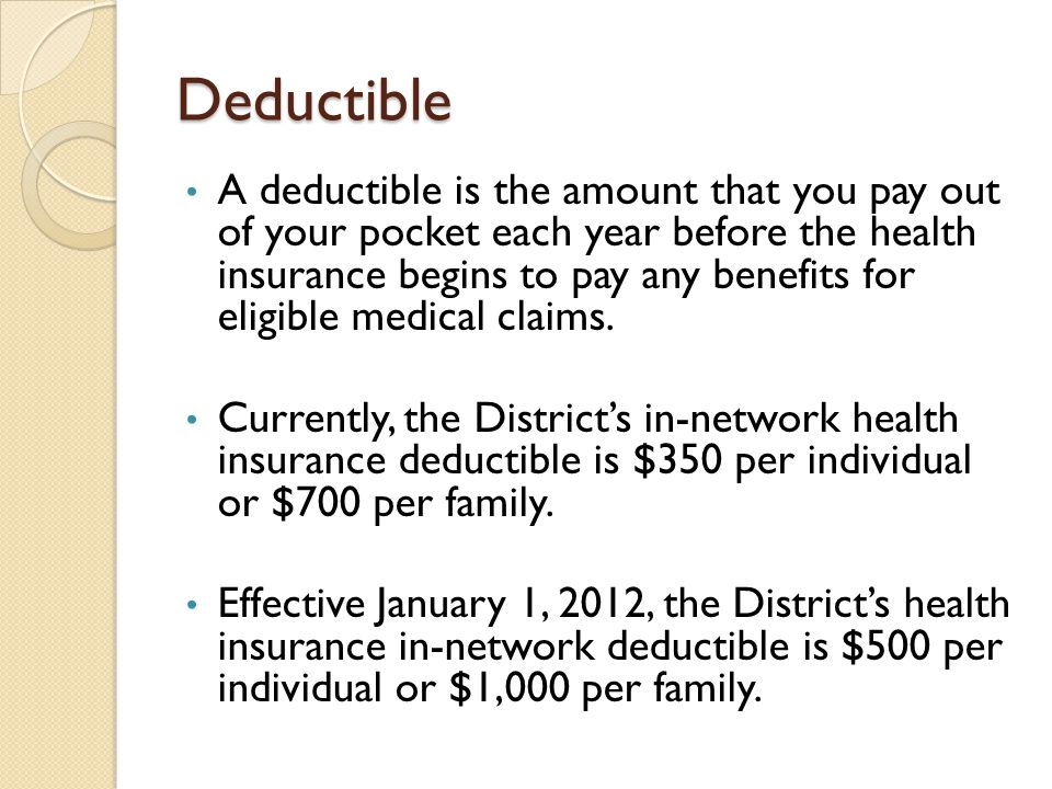 Deductible A deductible is the amount that you pay out of your pocket each year before the health insurance begins to pay any benefits for eligible medical claims.