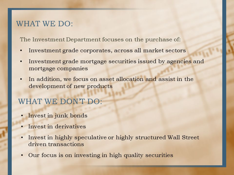 WHAT WE DO: The Investment Department focuses on the purchase of: Investment grade corporates, across all market sectors Investment grade mortgage securities issued by agencies and mortgage companies In addition, we focus on asset allocation and assist in the development of new products WHAT WE DON'T DO: Invest in junk bonds Invest in derivatives Invest in highly speculative or highly structured Wall Street driven transactions Our focus is on investing in high quality securities