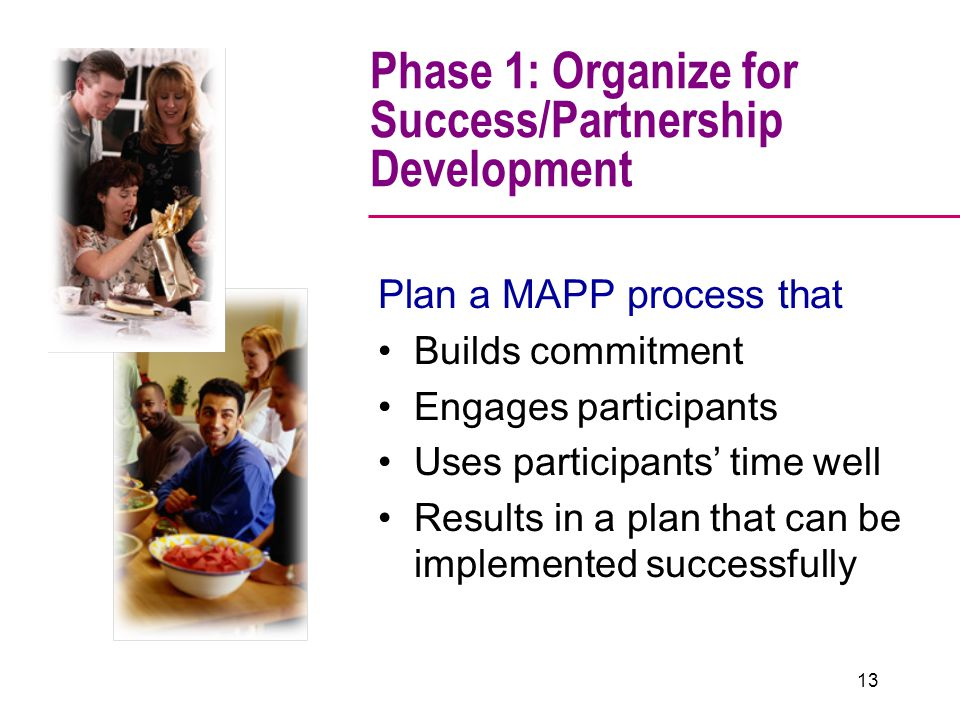 Phase 1: Organize for Success/Partnership Development Plan a MAPP process that Builds commitment Engages participants Uses participants' time well Results in a plan that can be implemented successfully 13