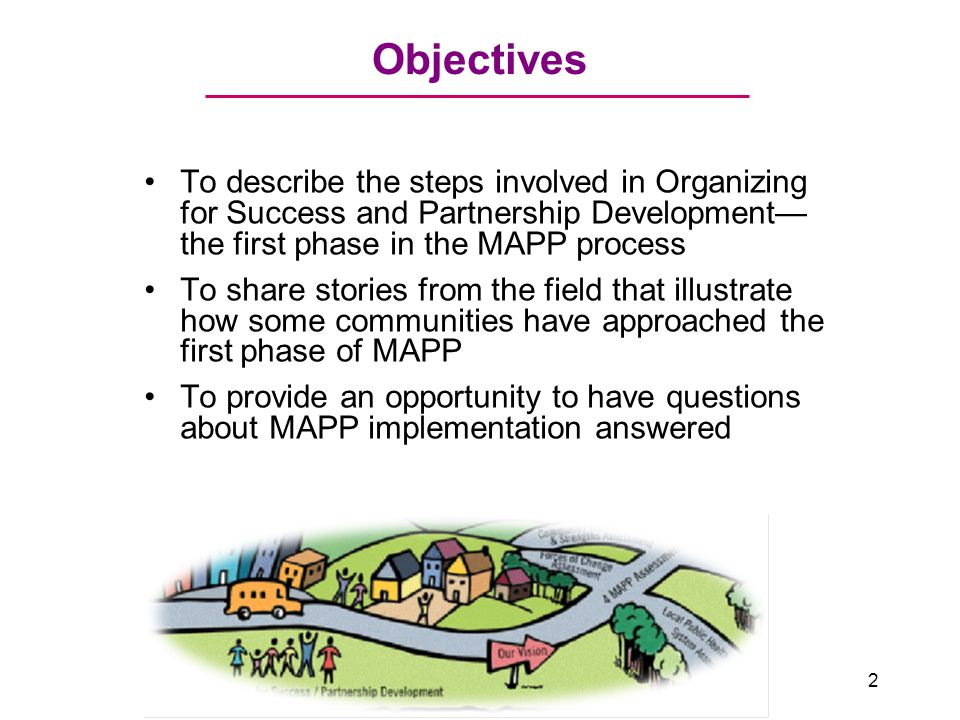 Objectives To describe the steps involved in Organizing for Success and Partnership Development— the first phase in the MAPP process To share stories from the field that illustrate how some communities have approached the first phase of MAPP To provide an opportunity to have questions about MAPP implementation answered 2