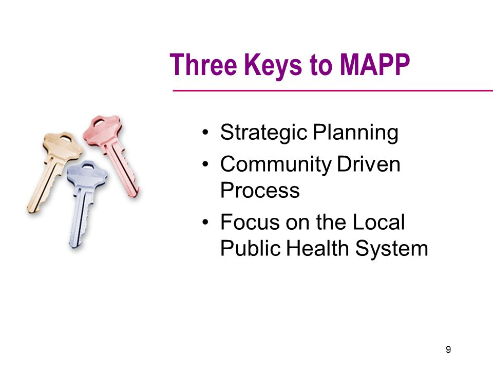 Three Keys to MAPP Strategic Planning Community Driven Process Focus on the Local Public Health System 9