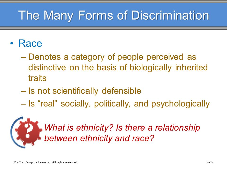 © 2012 Cengage Learning. All rights reserved.7–12 The Many Forms of Discrimination Race –Denotes a category of people perceived as distinctive on the