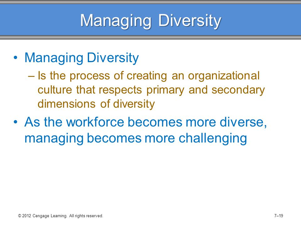Managing Diversity Individuals may be unable to eliminate deeply-held prejudices, but they can: –Learn to change negative attitudes and behaviors –Learn to look critically and honestly at myths and preconceived ideas –Develop a sensitivity to differences –Develop a comprehensive diversity awareness program © 2012 Cengage Learning.