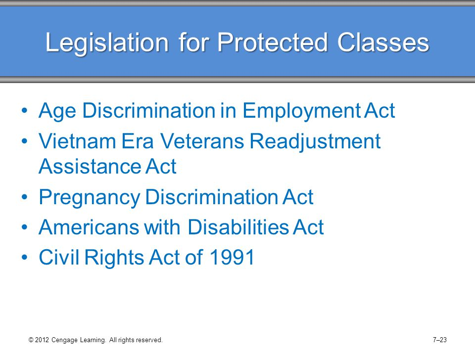 © 2012 Cengage Learning. All rights reserved.7–23 Legislation for Protected Classes Age Discrimination in Employment Act Vietnam Era Veterans Readjust