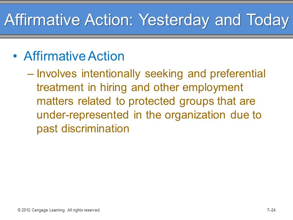 The Affirmative Action Debate Is it time to rethink affirmative action (AA).