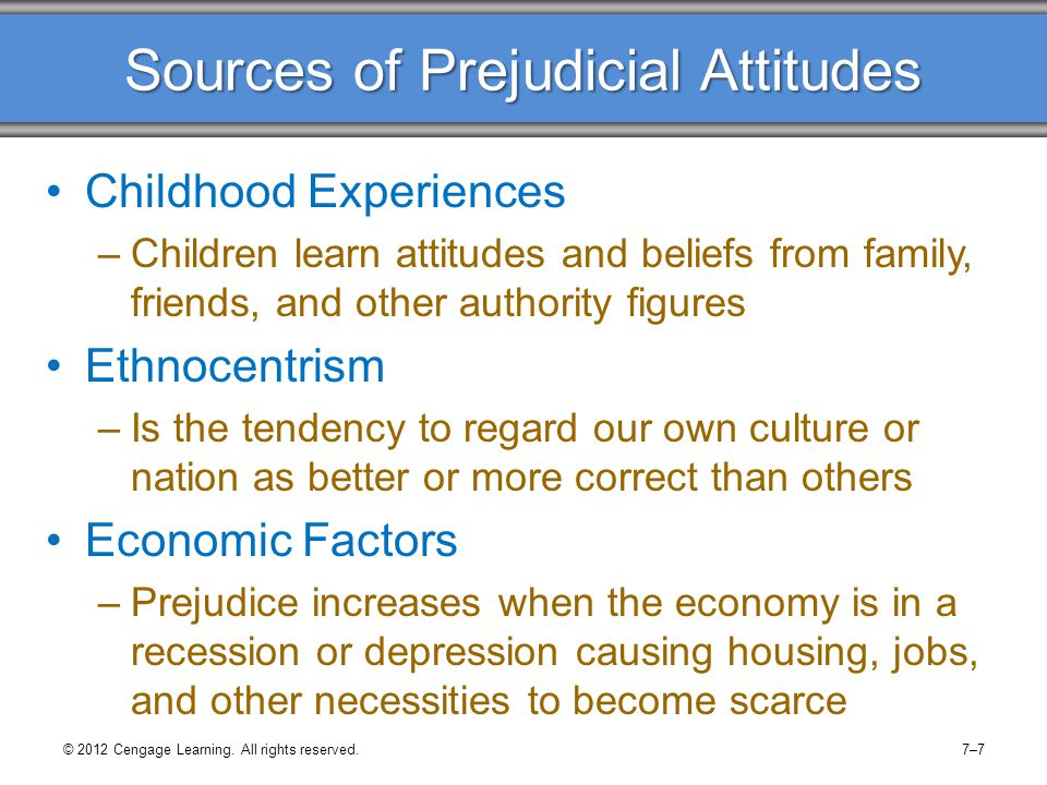 Sources of Prejudicial Attitudes Childhood Experiences –Children learn attitudes and beliefs from family, friends, and other authority figures Ethnoce