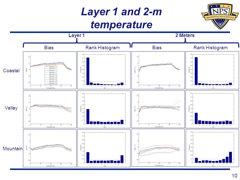 Layer 1 and 2-m temperature 10 Coastal Bias Valley Mountain Rank Histogram BiasRank Histogram Layer 1 2 Meters