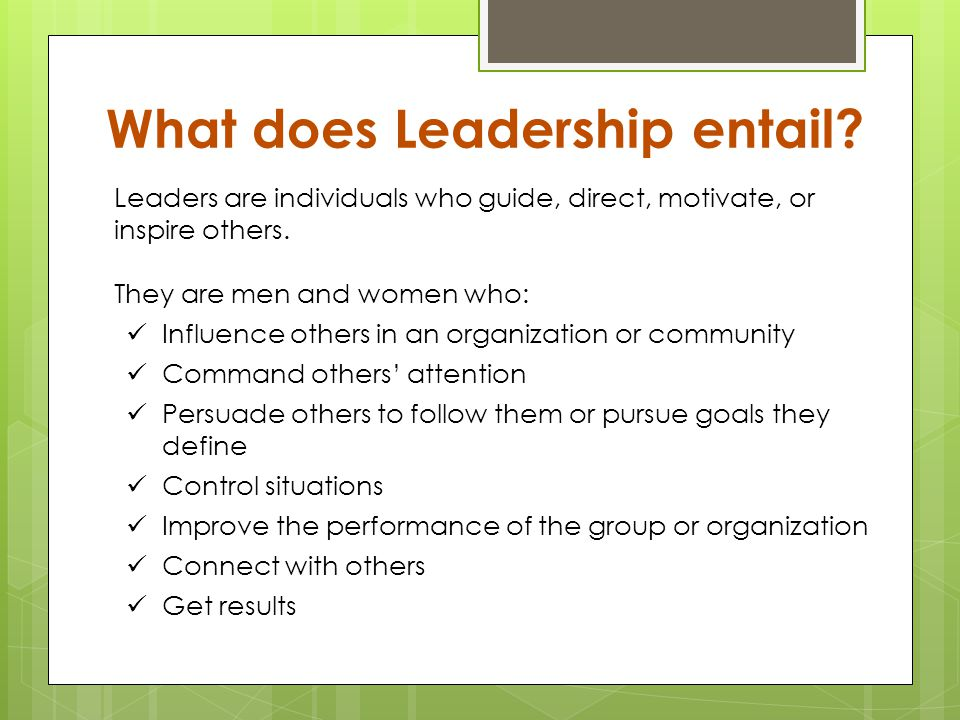 What does Leadership entail.