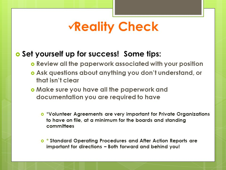 Reality Check  Set yourself up for success.