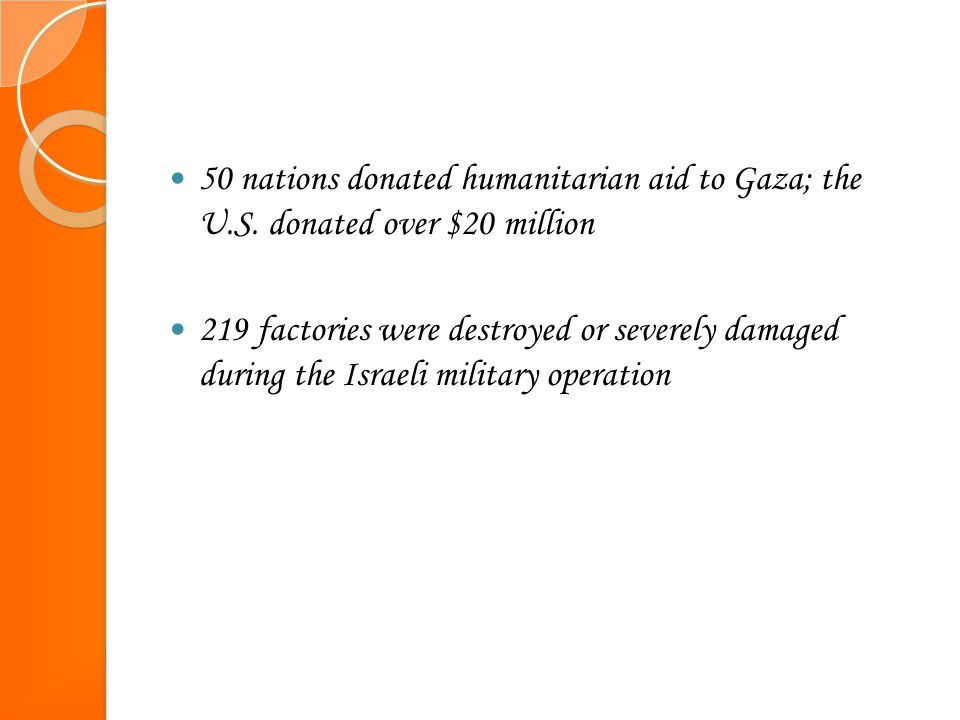 50 nations donated humanitarian aid to Gaza; the U.S. donated over $20 million 219 factories were destroyed or severely damaged during the Israeli mil