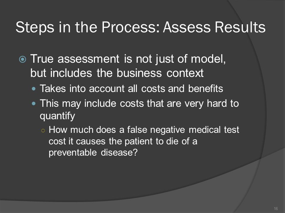 Steps in the Process: Assess Results  True assessment is not just of model, but includes the business context Takes into account all costs and benefits This may include costs that are very hard to quantify ○ How much does a false negative medical test cost it causes the patient to die of a preventable disease.