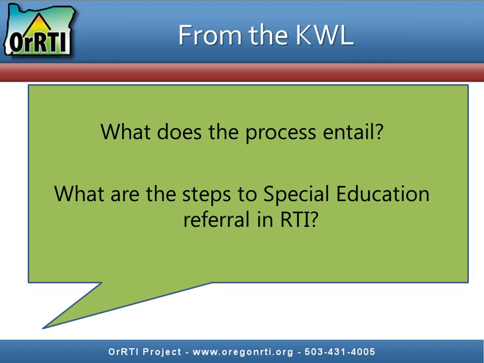 From the KWL What does the process entail? What are the steps to Special Education referral in RTI?