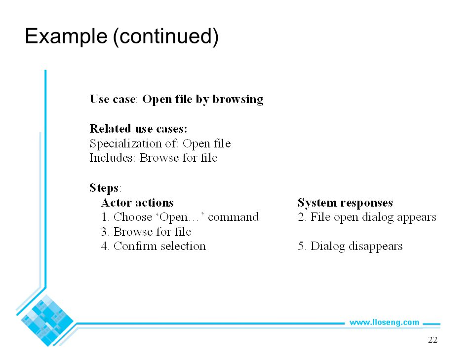 22 Example (continued)