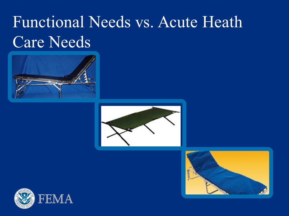 Functional Needs vs. Acute Heath Care Needs