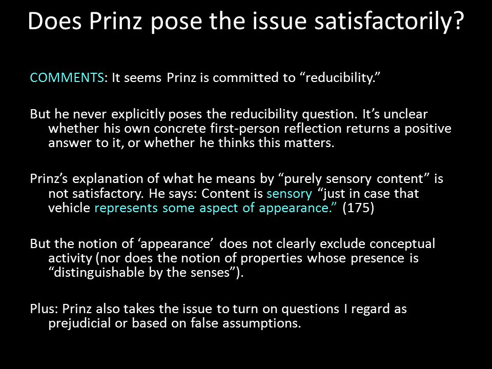 Does Prinz pose the issue satisfactorily.
