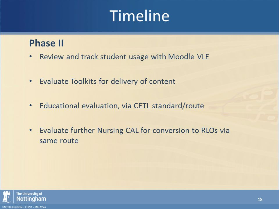 Timeline Phase II Review and track student usage with Moodle VLE Evaluate Toolkits for delivery of content Educational evaluation, via CETL standard/r