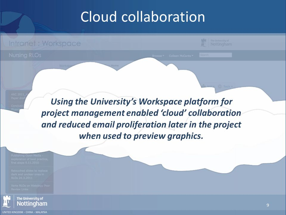 Cloud collaboration Using the University's Workspace platform for project management enabled 'cloud' collaboration and reduced email proliferation lat