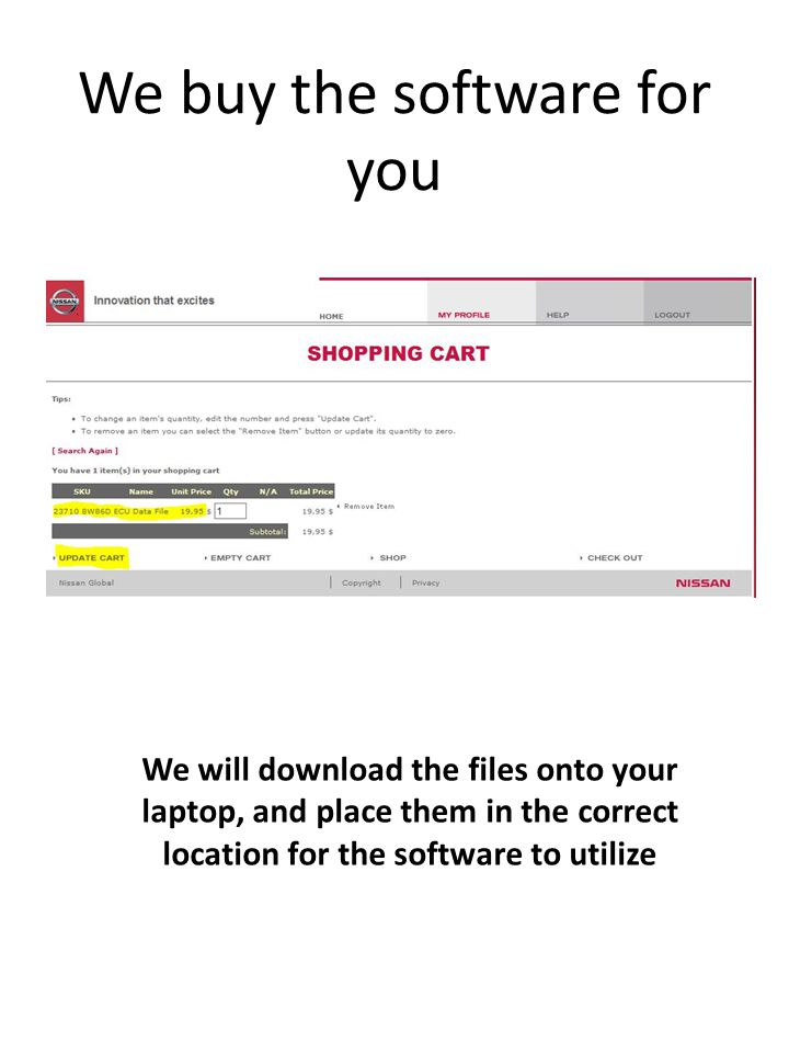We buy the software for you We will download the files onto your laptop, and place them in the correct location for the software to utilize
