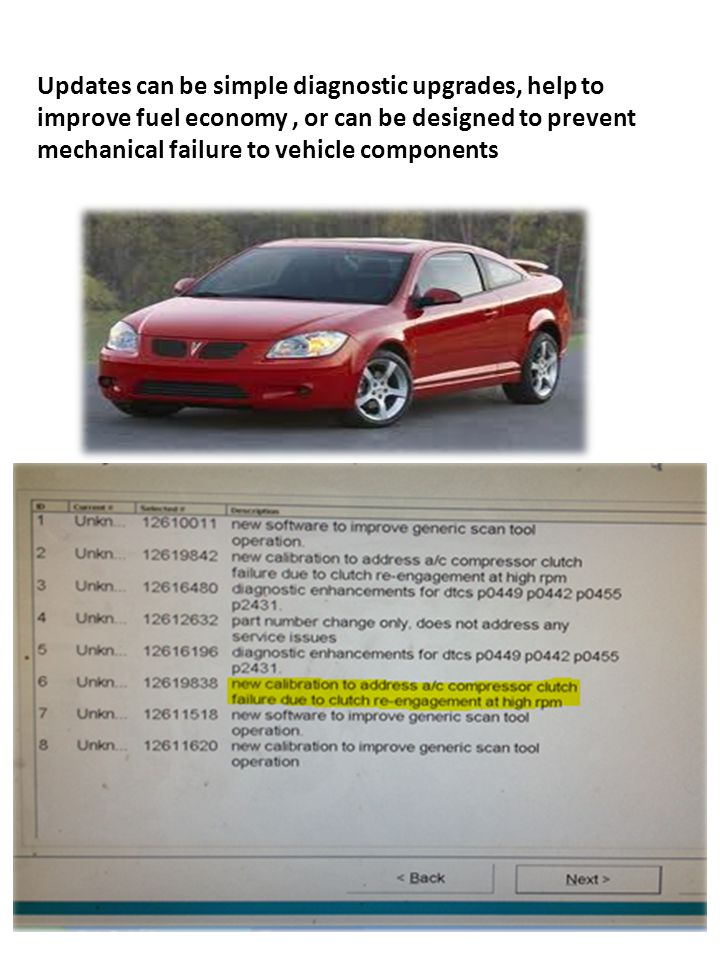 Pontiac G5 Updates can be simple diagnostic upgrades, help to improve fuel economy, or can be designed to prevent mechanical failure to vehicle compon
