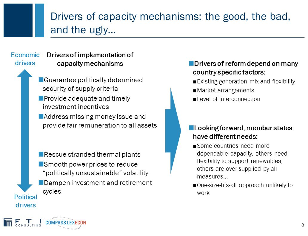 8 Drivers of capacity mechanisms: the good, the bad, and the ugly… Guarantee politically determined security of supply criteria Provide adequate and timely investment incentives Address missing money issue and provide fair remuneration to all assets Rescue stranded thermal plants Smooth power prices to reduce politically unsustainable volatility Dampen investment and retirement cycles Drivers of implementation of capacity mechanisms Economic drivers Political drivers Drivers of reform depend on many country specific factors: ■Existing generation mix and flexibility ■Market arrangements ■Level of interconnection Looking forward, member states have different needs: ■Some countries need more dependable capacity, others need flexibility to support renewables, others are over-supplied by all measures… ■One-size-fits-all approach unlikely to work