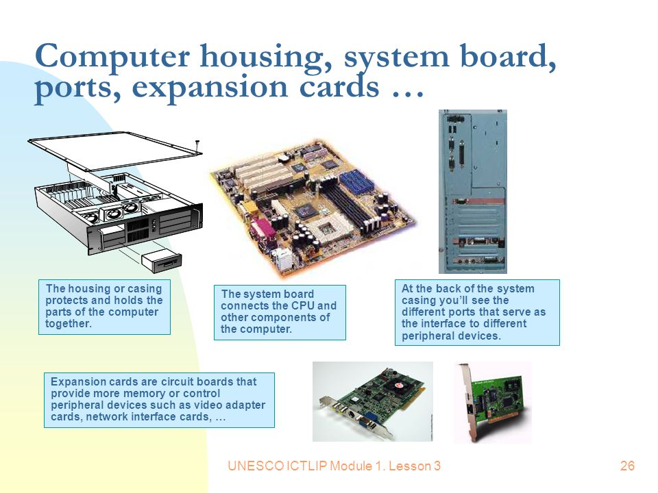 UNESCO ICTLIP Module 1. Lesson 326 Computer housing, system board, ports, expansion cards … The housing or casing protects and holds the parts of the