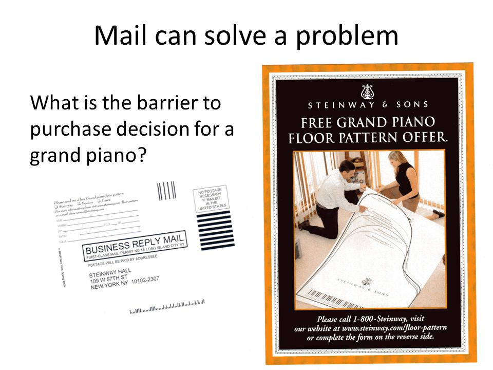 Mail can solve a problem What is the barrier to purchase decision for a grand piano?